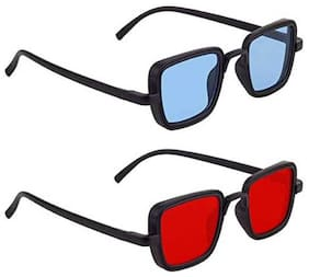 Kabir Singh Blue Red Exclusive Sunglasses Combo of 2 (For Boys & Girls)