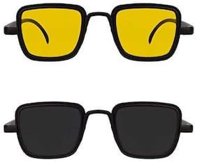 Kabir Singh Yellow Black Exclusive Sunglasses Combo of 2 (For Boys & Girls)