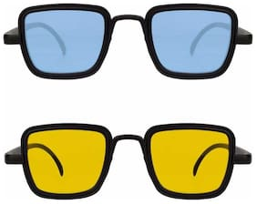 Kabir Singh Blue Yellow Exclusive Sunglasses Combo of 2 (For Boys & Girls)