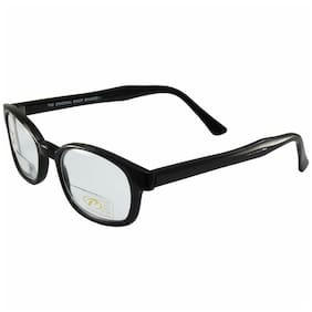 KD's Biker Shades By PCSUN Black Frames +2.00 Magnification Clear Lens