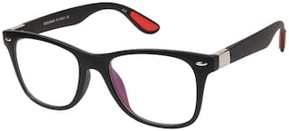 LOF Black Anti Reflective Coating Rectangular Unisex Spectacle Frame (LF-L121_3 I50I Transparent Color Lens)