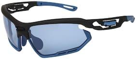 LOF Blue Wraparound Sports Full Rim Anti-Reflective Sunglasses for Men