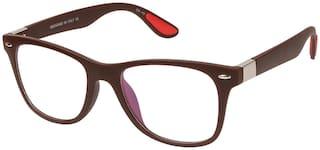 LOF Brown Anti Reflective Coating Rectangular Unisex Spectacle Frame (LF-L121_4 I50I Transparent Color Lens)
