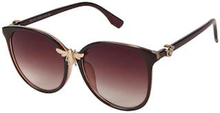 LOF Women UV Protected Brown Round Sunglasses Medium