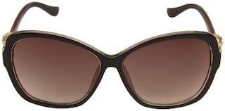 LOF Women UV Protected Brown Cat-Eye Sunglasses Large