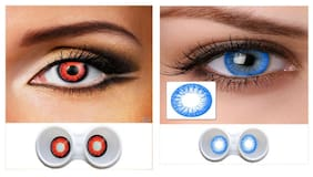 Magjons RED And Blue Colour Unisex Party Contact Lens Combo Of 2 With Case And Solution '0' Power