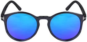 Mirrored Lens Round Blue  Sunglasses