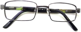 N Specs +2.50 Power Near Reading Glasses For Men & Women Metal Grey Colour Thick Side Retro Type Old Is Gold Full Frame With Unbreakable Fiber Glasses 112