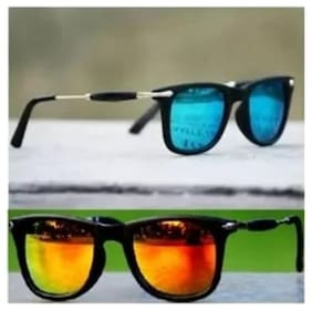 STYLE GURU Mirrored lens & Anti glare lens Square Frame Sunglasses for Men - Orange and blue combo pack of sunglasses