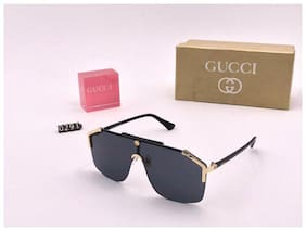 STYLE GURU Mirrored lens Aviator Sunglasses for Men , Black to black golden bar guccci trendy square sunglasses