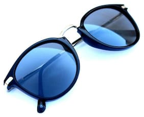 200eeae92f1 New stylish Black Golden color And Blue Shade Round frame sunglasses for Man  and women