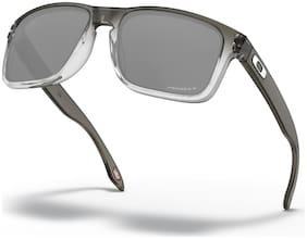 Oakley Grey Black Polarized Rectangular Sunglass
