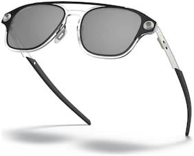 Oakley Silver Black Rectangular Sunglass