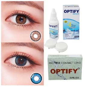 OPTIFY Brown & Blue Monthly Contact Lenses - 2 lens pack