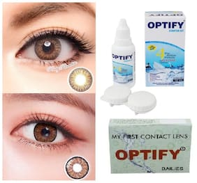 OPTIFY Dark brown & Brown Monthly Contact Lenses - 2 lens pack