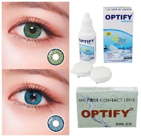OPTIFY Dark green & Blue Monthly Contact Lenses - 2 lens pack