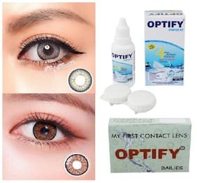 OPTIFY Grey & Brown Monthly Contact Lenses - 2 lens pack