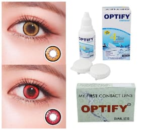 OPTIFY Hazel & Red Monthly Contact Lenses - 2 lens pack