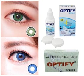 OPTIFY Light green & Blue Monthly Contact Lenses - 2 lens pack