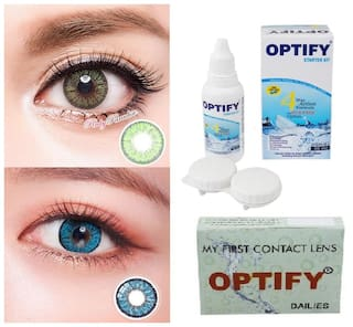 OPTIFY Light green & Aqua Monthly Contact Lenses - 2 lens pack