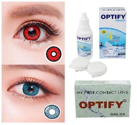 OPTIFY Red & Aqua Monthly Contact Lenses - 2 lens pack