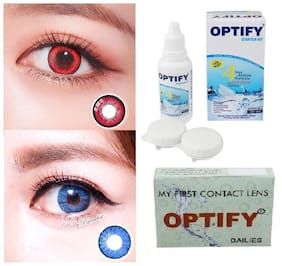 OPTIFY Red & Blue Monthly Contact Lenses - 2 lens pack