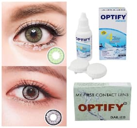OPTIFY Light green & Grey Monthly Contact Lenses - 2 lens pack