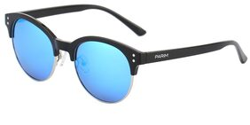 PARIM Polarized & UV Protected Acetate Clubmaster Sunglasses for Men & Women - Model 12008 B1 - Medium Size: (52) Lenses: Polarized Blue Frame: Black