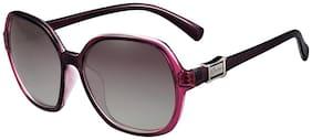 PARIM Polarized & UV Protected Plastic::TR 90 Rectangular::Over-sized Sunglasses for Women - Model 1188 V1 - Medium Size: (58) Lenses: Polarized Violet Frame: Violet