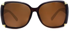 Peter Jones Brown Square Medium Sunglasses for Women/Girls (DE183)