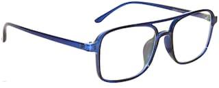 Peter Jones Square Blue Unisex Optical Frame with Anti Glare Lenses (DE124)