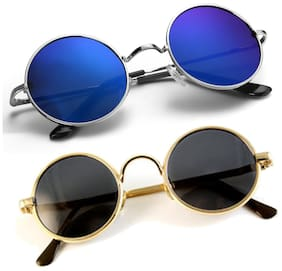 PHENOMENAL Blue & Black Round Medium Sunglasses