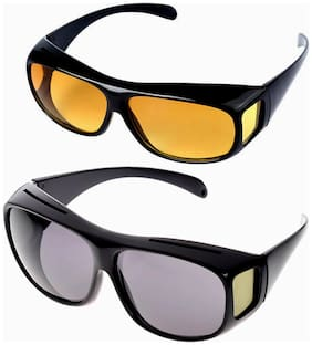 Purasoft Day and Night HD Vision Goggles Anti Glare Polarized UV Protected Sunglasses for Drivers (Black) Pack of 2 (1 for Day and 1 for Night)