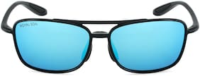 ROYAL SON HD Polarized TR90 Unbreakable Men Sunglasses - Blue Mirrored