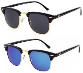 Shadz clubmaster black blue combo pack of 2 sunglasses
