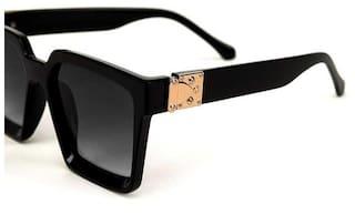 Skyza India Unisex Regular & Anti-Reflective Black Rectangular Sunglasses Large