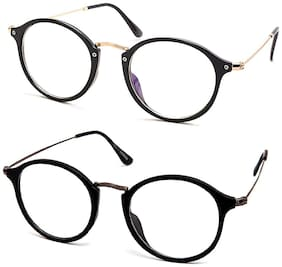 Stacle Anti-Reflective Retro Round Unisex Spectacles (ST8508|53|Multiple Colours) (2 Pack Combo (Black Gold+ Black Gun))