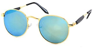 Stacle Lennon Inspired Rubber Side Temple Round Unisex Sunglasses (ST1003|50|Blue)