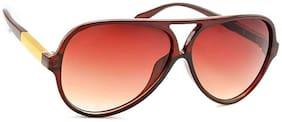 Stacle Metal Temple Modernized Pilot Unisex Sunglasses (Brown Frame) (ST18476)