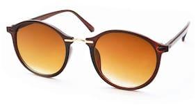 Stacle Metal Nose Bridge Retro Round Unisex Sunglasses (ST3437 51 Brown)