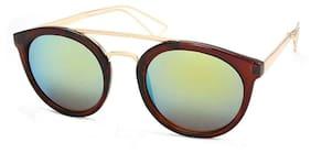 Stacle Mod Fashion Double Bridge Retro Round Sunglasses (ST7380|58|Green Mirrored Lens)