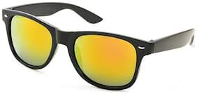 Stacle Retro Horn Rimmed Mirrored Rectangular Unisex Sunglasses (STR8822|Yellow Mirrored Lens)