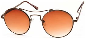 Stacle Sleek Shiny Metal Frame Round Unisex Sunglasses (ST8827|55|Brown)