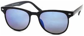 Stacle UV Protected Rectangular Sunglasses For Men and Women (ST7136|49|Blue Mirrored Lens)