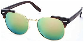Stacle UV Protected Clubmaster Style Round Oval Unisex Sunglasses (ST19551|Green Mirrored Lens)