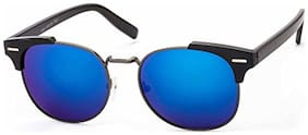 Stacle UV Protected Clubmaster Style Round Oval Unisex Sunglasses (ST19551|Black Frame|Blue Mirrored Lens)