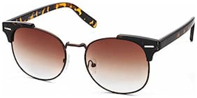 Stacle UV Protected Clubmaster Style Round Oval Unisex Sunglasses (ST19551|Brown Lens)