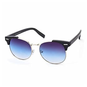 Stacle UV Protected Clubmaster Style Round Oval Unisex Sunglasses (ST19551|Blue Gradient Lens)