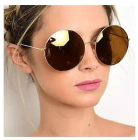 Sunglasses Brown Round Goggles For Unisex