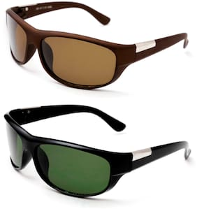 1a3d184c8391 Thewhoop Combo UV Protected New Stylish Brown And Green Sports Goggle  Sunglasses For Men